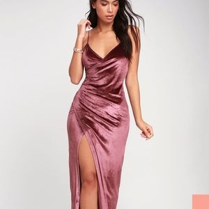 Lulus Debut Diva Mauve Velvet Maxi Dress